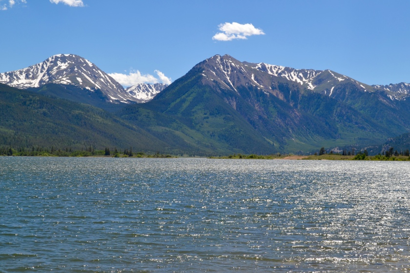 Twins Lakes Mountain and Lake